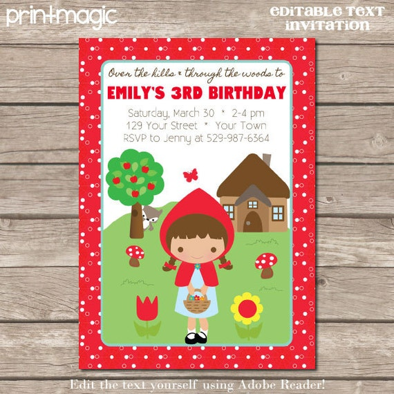 instant download red riding hood party invitation by