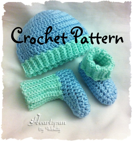 Crochet Hat Pattern With Cuff : CROCHET PATTERN to make a Ribbed Baby Hat and Bootie Sock Set