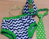 boy navy and lime green cake smash outfit, navy chevron diaper cover and party hat lime green tie,