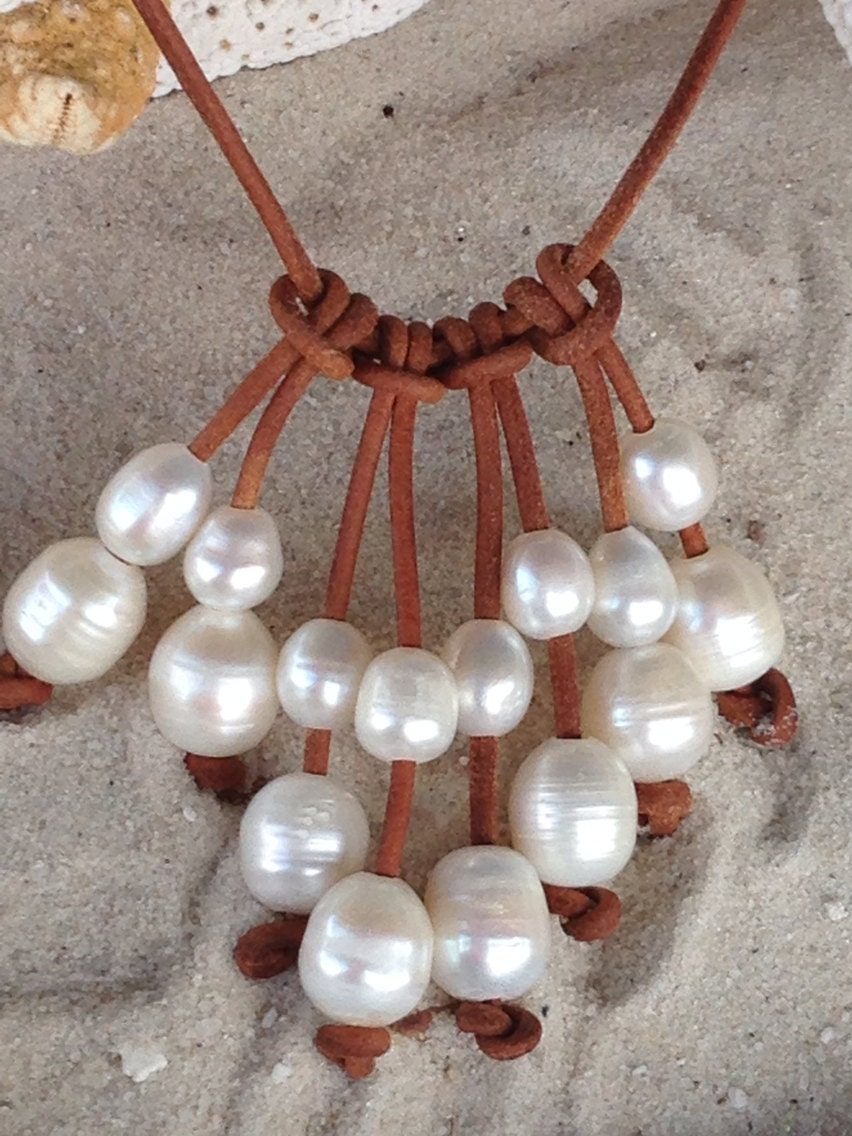 Freshwater Pearl And Leather Necklace By Sandandseapearls