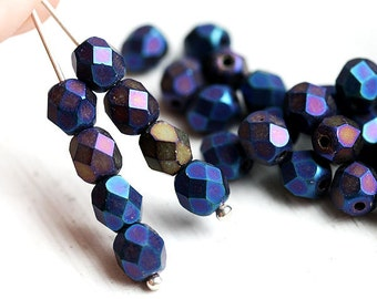 6mm Dark Blue glass beads - Matte Iris Blue - czech beads, round faceted spacers - 30Pc - 0950