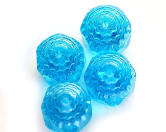 Cathedral beads, aqua blue czech glass with silver ends - bright, sea color, round - 10mm - 10Pc - 0032