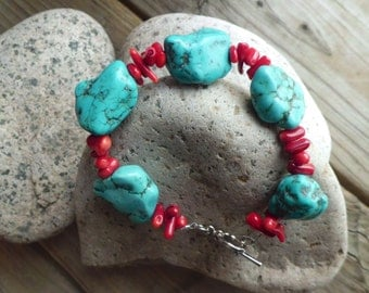 Turquoise Howlite and Red Stone Bracelet
