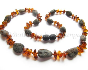 Baltic Amber Necklace, Raw Unpolished Black And Cognac Color