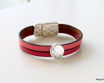 Pink Leather Bracelet, Silver Magnetic Clasp Cuff, Leather Cuff, Pink Leather Cuff, Bubble Gum Pink Leather, Flat Leather Cuff