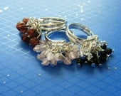 Charm Ring RESERVED FOR FELICE! Cluster Rings! Silver Wrap Adjustable Rings, Amber Beads, Pink Beads! Black Sold Out! Birthday Gifts