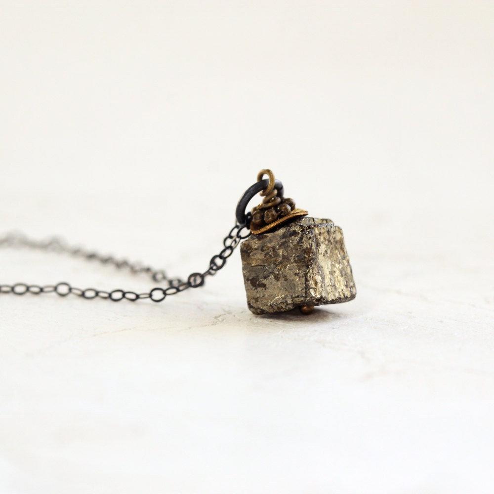 cube pendant necklace pyrite necklace by