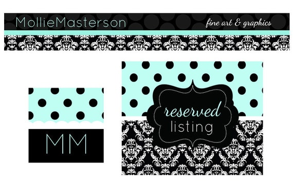 Premade Etsy Banner Avatar Set for Small Crafty Boutiques Tiffany Blue and Black Damask PolkaDot Shabby Chic Set