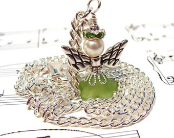 August Peridot Birthday Guardian Angel Necklace with Crystals