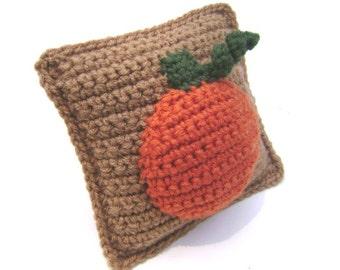 Crochet Pumpkin Accent Pillow Fall Thanksgiving Halloween Decoration Rustic Country