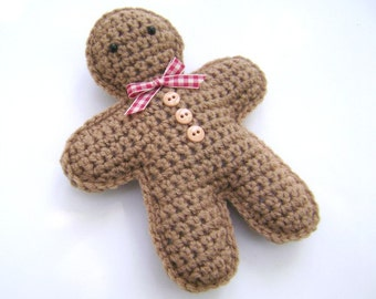 Crochet Gingerbread Man Christmas Holiday Decoration Amigurumi Plush Accent Shelf Sitter Ornament