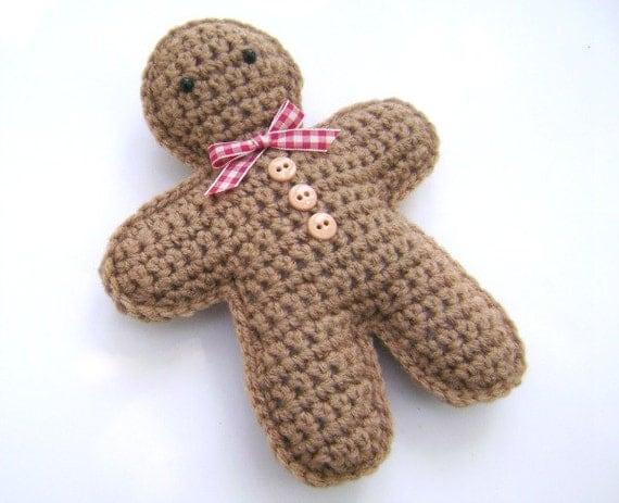 Christmas Gingerbread Man Knitting Pattern : Crochet Gingerbread Man Christmas Holiday Decoration Amigurumi