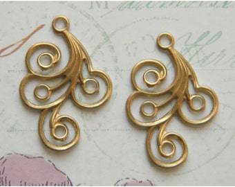 Raw Brass Swirl Stamping Drop Embellishment 20mm x 30mm - 4 pcs. (r189)