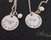 Mom and Daughter Jewelry - Personalized Hand Stamped Mother - Daughter Necklace Set, Like Mother, Like Daughter, Bird Valentine's Day
