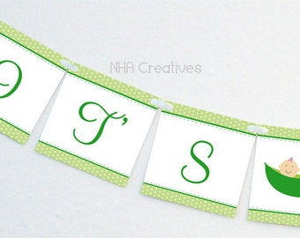 It's Twins Baby Shower Banner - Two Peas In A Pod - DIY Printable Digital File