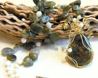Green labradorite necklace