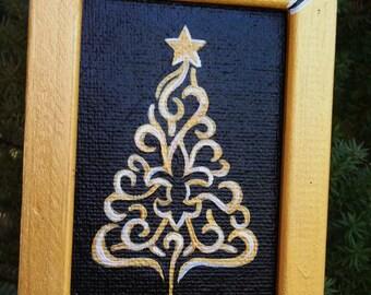 Black and Gold Fleur de LIs Tree Ornament