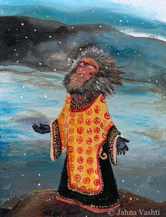 Print, macaque, monkey, japanese, winter, snow, Buddhist, meditation, print