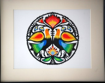 Original Papercut Collage Wycinanki Polish Folk Art The DOVES
