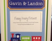 PERSONALIZED/Custom PICTURE frame matting Baby Boy Twins Trains- matting only