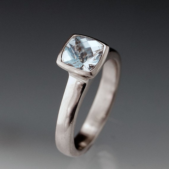 Cushion Aquamarine Bezel Solitaire Engagement Ring in in Silver/Palladium, Palladium, Yellow Gold or White Gold