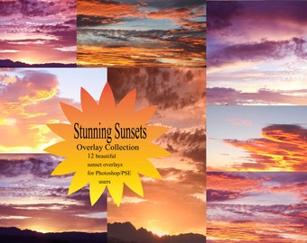 10 Stunning Sunset Overlays add texture and style to your photography Hi Res jpeg downloads for photoshop, variety pack of day, sunset, rain