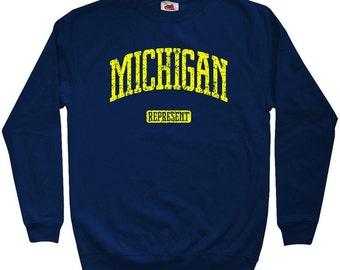 Michigan Represent Sweatshirt - Men S M L XL 2x 3x - Crewneck Michigan Shirt - 4 Colors