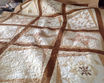 Sampler Quilt, Embroidered and Pieced, Shades of Brown