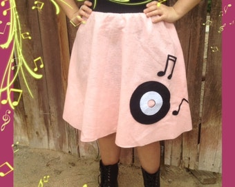 handmade poodle skirt with record and musical notes