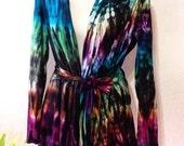 Tie Dye Wrap Sweater, Asymmetric Top, Jersey Knit Jacket, Cardigan, Hippie Clothes