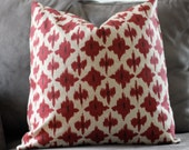 Decorative Pillow Cover 20x20 Red Geometric Flower FREE SHIPPING & FREE gift w/purchase