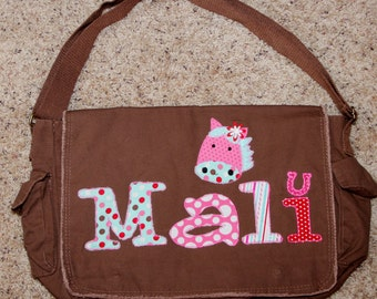 Large Raw Edge Messenger Bag or Diaper Bag with Personalized Name and Horse applique