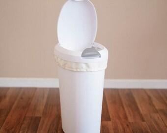 Clearance -- Diaper Pail Liner - Cream Reusable Garbage Pail Liner - Laundry Bag -  Cloth Diaper Pail