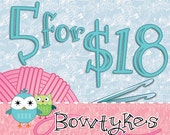 Bowtykes Crochet Pattern Combo Pack - any 5 for 18.00