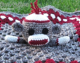Sock Monkey Lovey - CROCHET PATTERN instant download  - blankey, blankie, security blanket