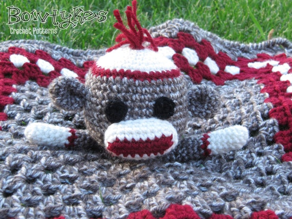 Sock Monkey Lovey Crochet Pattern Instant Download