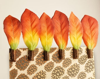 Fall Leaf Party Decoration Cupcake Toppers for Autumn Weddings, Yellow Orange Ombre Gift Favor Bag Clips - Set of 12 Wish Clip