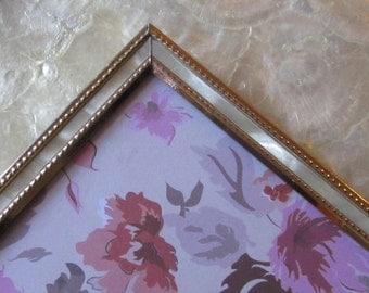 MOP Vintage Frame Metal Frame faux mother of pearl trim vintage frame 60s 70s