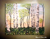 """Original Landscape Painting.Abstract Textured Painting.Contemporary Spring Forest Painting.Home Wall Decor 30""""  - by Nata S."""