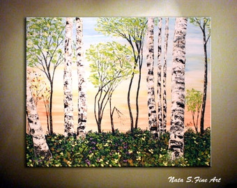 "Original Landscape Painting Abstract Textured Art Birch Tree Contemporary Spring Forest Artwork Home & Office Wall Decor 30""  - by Nata S."