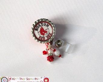 Boston Red Sox Inspired Retractable Badge Reel - Baseball Badge Clips - Beaded ID Holders - Creative Badge Pulls - Sports Badge Reels