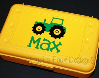 Personalized TRACTOR Pencil Box/ Art Supply Holder - Back to School - Assorted Colors/Designs