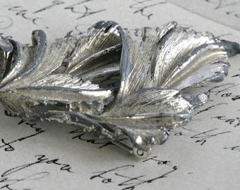 Old Vintage Pot Metal Silver Leaf Pin Brooch
