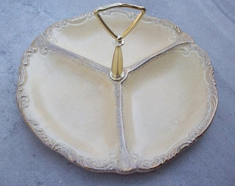 California Originals Pottery Relish Tray in Pale Yellow with Gold  Mold 990 Made in USA