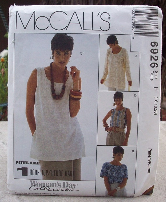 McCall's 6926 Misses' Tunic and Top  One Hour Top Pattern Dated 1994  Plus Size 16, 18, 20