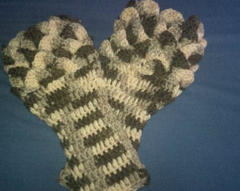 Crochet gaunlet gloves / arm wrist warmers, dragon scale Stitch made in wales UK