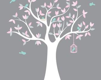 Nursery wall tree- Vinyl tree decal- Modern tree- Children decal- Bird cage decal