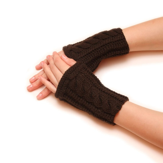 Hand knitted armwarmer - Arm fingerless, dark brown fingerless, brown handwarmer, knitted fingerless, finger free arm warmer, warm gloves