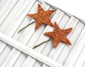 lucky star hair pin pair / copper german glass star bobby pin / two glitter hair pins
