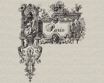 French Script Paris Floral French Decor Wall Decor Printable Digital Download for Iron on Transfer Fabric Pillows Tea Towels DT545
